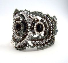 Beaded jewelry. Elegant Beaded Cuff Bracelet, Black Silver Grey Iris Bronze colour combination, Unique gifts for her OOAK