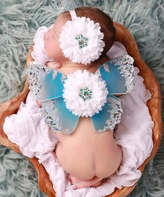 Lil Miss Sweet Pea Blue & White Flower Butterfly Wings & Headband Blue Butterfly, Butterfly Wings, Miss Sweet, Newborn Girls, Cute Baby Photos, Baby Girl Princess, Princess Outfits, Photo Props, White Flowers