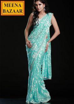 blue sari :) love the color