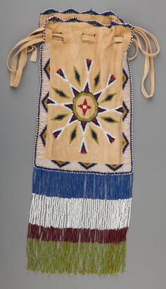 American Indian Art:Beadwork and Quillwork, Two Apache Beaded Hide Pouchesc.  hide...