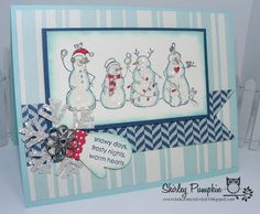 Stampin Up Christmas Card, by Shirley Pumpkin. Frosty Friends stamp, Snowmen