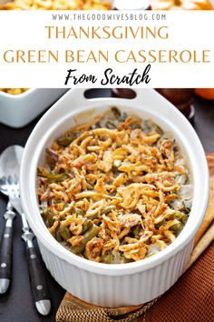 Thanksgiving isn't complete without this classic green bean casserole made from scratch. Tastes just like your grandma used to make. Fresh green beans, french's onions and a whole lot of cheese. SO good. The perfect Thanksgiving side dish or Sunday dinner staple. #greenbeans #thanksgivingsides #thanksgivingdinner #greenbeancasserole #thanksgivingfood Thanksgiving Green Bean Casserole, Thanksgiving Green Beans, Healthy Green Bean Casserole, Classic Green Bean Casserole, Healthy Casserole Recipes, Thanksgiving Side Dishes, Thanksgiving Recipes, Crockpot Green Beans, Healthy Green Beans