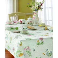 @Overstock - Lenox Butterfly Meadow Table Cloth - Bring the outdoors in with this springtime inspired print. This Lenox table linen pattern features a garden of flowers, butterflies and leaves that bloom all over the elegantly woven damask fabric.    http://www.overstock.com/Home-Garden/Lenox-Butterfly-Meadow-Table-Cloth/7945162/product.html?CID=214117  $19.99
