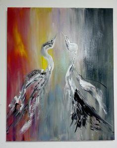 Swan toile très gaie et aérienne : Peintures par gauchepatte