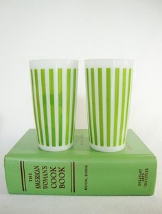 Hazel Atlas lemonade tumblers milk glass