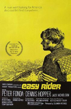Movie poster for Easy Rider starring Peter Fonda, Dennis Hopper and Jack Nicholson from 1969