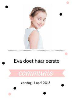 Communiekaart voor een meisje met stippen en foto. De roze kleur kan je aanpassen bij achtergrondkleur.  #communie #communiekaart #uitnodiging