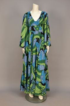 ID 141-94 JEAN VARON PRINTED VOILE BUTTERFLY GOWN, 1970s. - whitakerauction