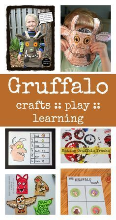 """The Gruffalo"" crafts & activities. Gruffalo Activities, Gruffalo Party, The Gruffalo, Learning Activities, Preschool Activities, Gruffalo's Child, Stages Of Baby Development, Kids Book Series, Library Activities"