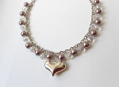 Silver Plated Heart with Crystals Lovely necklace by almacastro, $50.00
