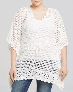 Plus Size Crochet Drawstring Tunic