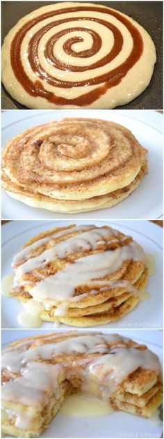 Cinnamon Roll Pancakes OMG yum!! And such simple everyday ingredients!!