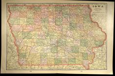 Map Iowa Antique Large Early 1900s Original 1901