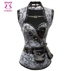 Red/Black Skull Pattern Steel Boned Corset Plus Size Waist Training Corsets Gothic Espartilhos E Corpetes Steampunk Clothing