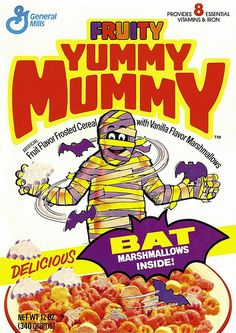Some of the most popular sets of cereals around Halloween are General Mills Monster Cereals - Count Chocula, Franken Berry, and Boo-Berry. People forget that there used to be two other Monster Cereals - Fruit Brute and Fruity Yummy Mummy. Retro Advertising, Vintage Advertisements, Vintage Ads, Vintage Food, Advertising Slogans, Retro Ads, Kids Cereal, Cereal Boxes, Cereal Food