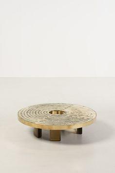 Armand Jonckers (born 1939), Table basse, Laiton et résine, Pièce unique signée Armand Jonckers, Date de création : 1978, H 27 × Ø 101 cm   furniture design