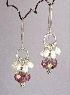 Freshwater Pearl and Swarovski Crystal Earrings | adora_by_simona - Jewelry on ArtFire