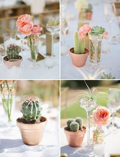 Cactus Centerpieces: Mix and match your cactus centerpiece details with other colors and themes present at your wedding. Here's a great example of various centerpiece arrangements all done in a way in which the cacti are integrated into the rest of the color and floral palette of the wedding.