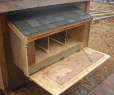 "Size: Nest boxes should be big enough for your hen to stand in comfortably  Nesting material: dry wood shavings over straw.  Often a roost bar or step is added in front of the box to give the hen a place to jump to before entering the nest box. Also a ""lip"" is added to the front of the nesting box to keep the bedding material in place  make sure they aren't too high for the hens but not higher than the roosts or you'll have hens sleeping inside the nest boxes."