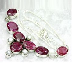 Rub 388a collier parure sautoir rubis cachemire perle bijou argent 925 achat vente