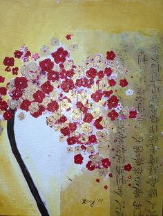 fleurs-de-cerisier-or