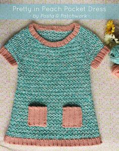 Pretty in Peach Pocket Dress | Free Crochet Pattern & Tutorial | Pasta & Patchwork ༺✿ƬⱤღ  http://www.pinterest.com/teretegui/✿༻