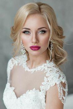 These pretty wedding hairstyles form Elstile are all we could ever want when it comes to bridal beauty. Whether you're looking for wedding hairstyles for long hair, short or another length in between, at least one of . Wedding Makeup For Blue Eyes, Bridal Hair And Makeup, Wedding Hair And Makeup, Bridal Beauty, Hair Makeup, Bridal Makeup For Blondes, Hair Wedding, Wedding Bride, Wedding Ideas