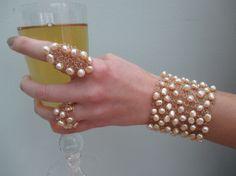 Cuff BraceletPearl cuff bracelet wire knitted by LavishGemstone