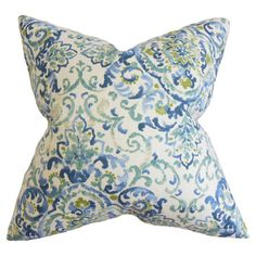 Cotton pillow with a scrolling motif and feather-down fill. Made in Boston, Massachusetts.  Product: PillowConstruct...