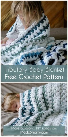 Tributary Baby Blanket - Free Crochet Pattern #crochetpattern #crochet #tutorial #babyblanket #freecrochetpatterns