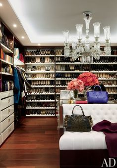 GLAMOROUS CLOSET DESIGNS: stunning #closet space with Baccarat #chandelier + lots of #shoes
