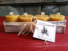 4 Pure BEESWAX Votives - Farmer's Daughter- Hand poured 100% Pure Natural Beeswax Candles. $12.00, via Etsy.