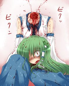 anime Touhou girl decapitated. Its actually Sanae. She looks really shocked.