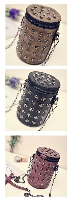 Mini cylinder shape shoulder clutch embroided with sculls. Rock your look with this cool accessory. Come in black, bronze, grey and brown colors at €15.82.