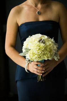 Navy bridesmaid dress.