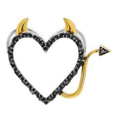 Thanks for Sharing!  0.07 Carat (ctw) Sterling Silver Round Black Diamond Two Tone Heart Ladies Devil Pendant - Dazzling Rock #https://www.pinterest.com/dazzlingrock/