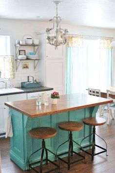 Kitchen island turqoise colour