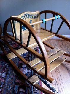 Teeter Totter Teetertot Baby Chair Vintage Wooden Toy Rocker Rocking Chair.