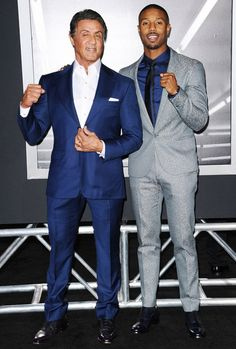 "Sylvester Stallone and Michael B. Jordan pose at the Los Angeles premiere of ""Creed"" on Thursday."