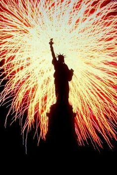 Fourth of July-Statue of Liberty and Fireworks.America - The United States of America - American Flag - Liberty - Justice - Freedom - USA - The US - God Bless America!