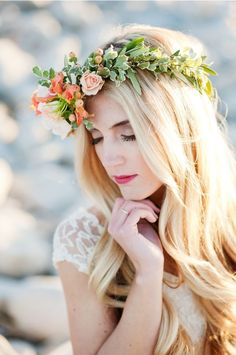 Delicate Peach Floral Crown for a Bohemian Bride | Kristina Curtis Photography on /perfectpalette/ via /aislesociety/