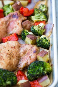 This 30 minute sheet pan chicken with veggies has a sweet and savory sauce baked right in for a complete dinner that's packed with flavor and nutrition! Gluten free, Paleo, Whole30 compliant dinner and great for weeknights and leftovers too! (chicken pan recipes potatoes)