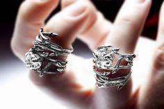 dark silver stacking pair: Elvish rings, twigs & natural Herkimer Diamond rock crystal - organic rings. #Etsy.