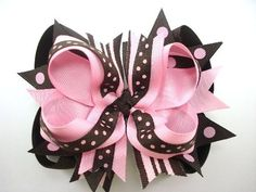 Chocolate and Strawberry Over the Top Hair Bow