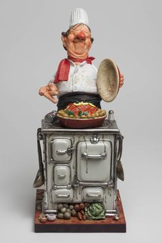 Guillermo Forchino The Master Chef - Comical Art Figurines, Sculptures Fat Chef Kitchen Decor, Kitchen Rack, Cartoon Chef, Polymer Clay Dolls, Le Chef, Funny Art, Wood Carving, Art Dolls, Decoupage