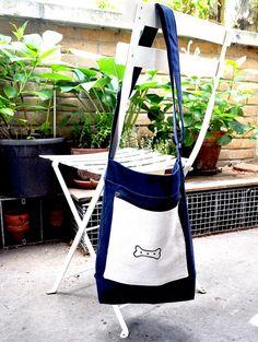 Dog Walk Bag - Bone Print - Navy $50