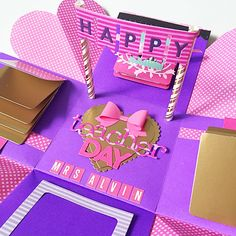 Happy Teacher Day Explosion Box Card In Hot Pink And Purple And Gold on…