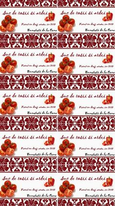 Etichete borcane - suc de rosii si ardei Jar Labels, Recipies, Food, Canning, Recipes, Eten, Meals, Cooking Recipes, Diet