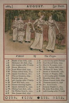 August page from Kate Greenaway's Almanack for 1884; Illustration by Kate Greenaway. Published by G. Routledge archive.org