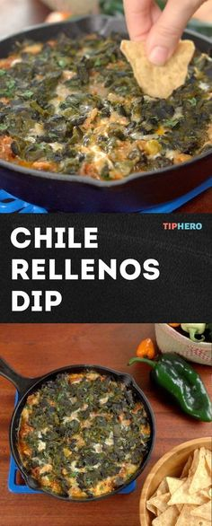 Chile Rellenos Dip Recipe   This spicy skillet dip blends poblano peppers, cream cheese, garlic, Old El Paso™ taco seasoning mix, green chiles and red enchilada sauce, Mexican chorizo, and Monterey Jack cheese #mexicanfoodrecipes